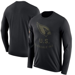 Men's Arizona Cardinals 2018 Salute to Service Sideline Performance Long Sleeve T-Shirt - Legend Black