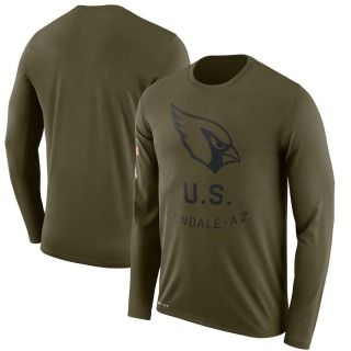 Men's Arizona Cardinals 2018 Salute to Service Sideline Performance Long Sleeve T-Shirt - Legend Olive