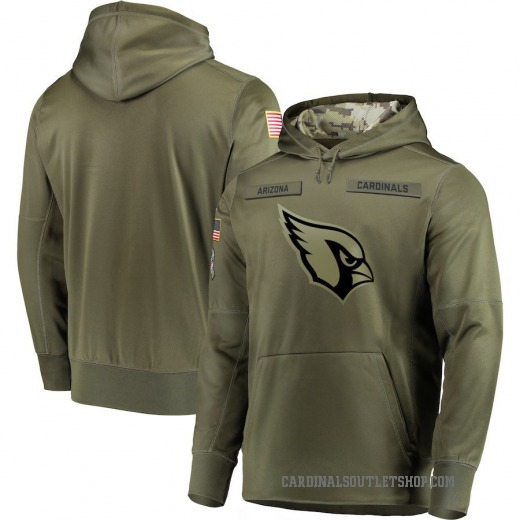 Men's Arizona Cardinals Nike 2018 Salute to Service Sideline Therma Performance Pullover Hoodie - Olive