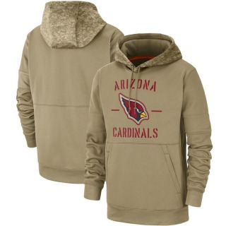 Men's Arizona Cardinals Tan 2019 Salute to Service Sideline Therma Pullover Hoodie -