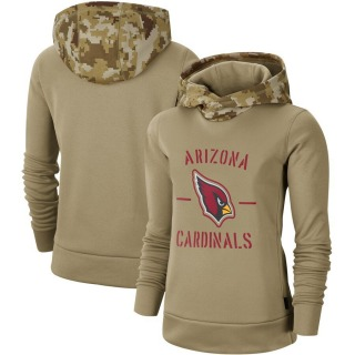 Women's Arizona Cardinals Khaki 2019 Salute to Service Therma Pullover Hoodie -