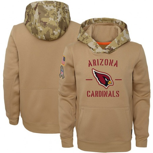 Youth Arizona Cardinals Nike Khaki 2019 Salute to Service Therma Pullover Hoodie -